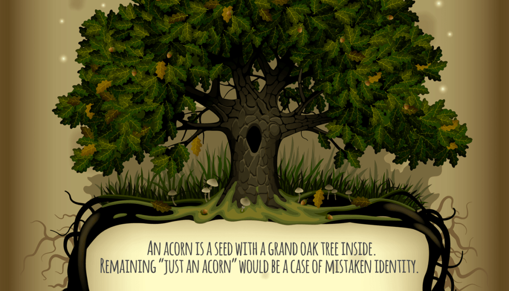 Inside every acorn is a mighty oak tree waiting to grow.