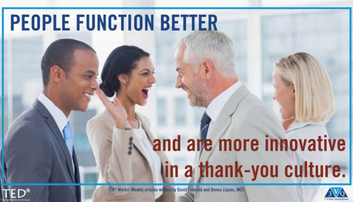 People function better and are more innovative in a thank-you culture. David Emerald and Donna Zajonc, MCC