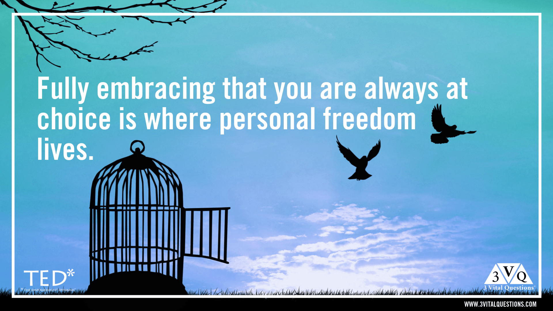 Fully embracing that you are always at choice is where personal freedom lives.