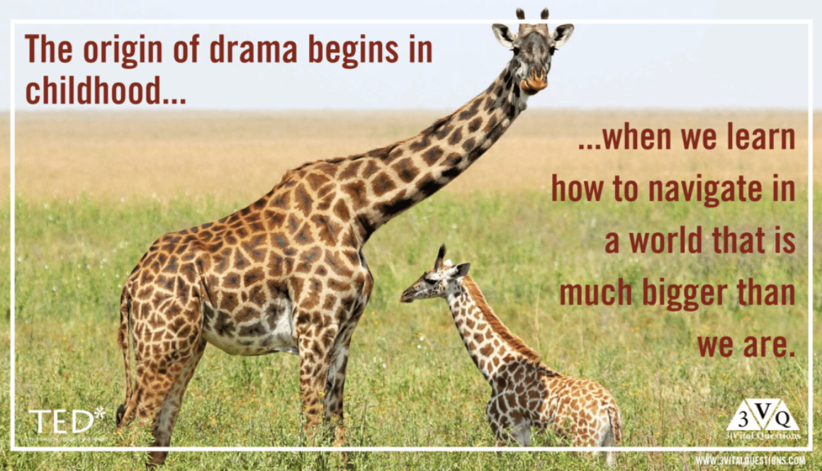 The origins of drama begin in childhood when we learn how to navigate in a world that is bigger than we are.