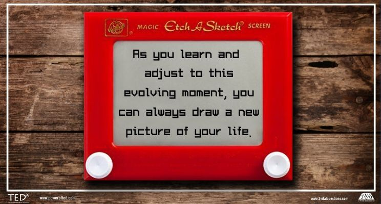 "Etch-A-Sketch on table: ""As you learn and adjust to this eveolving moment, you can always draw a new picture of your life."""