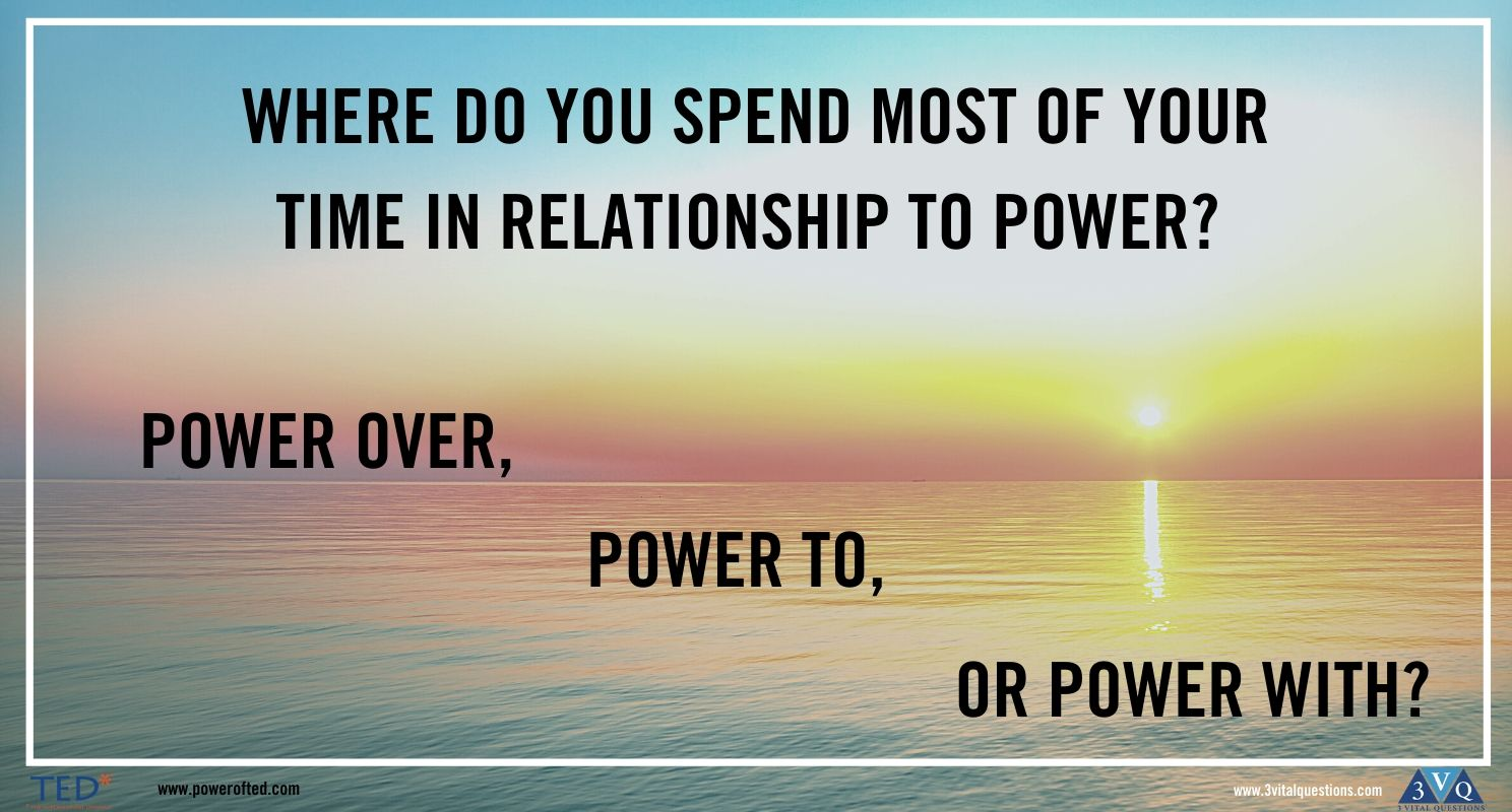 Where do you spend most of your time in your relationship to power? Power over, Power to, Power with?