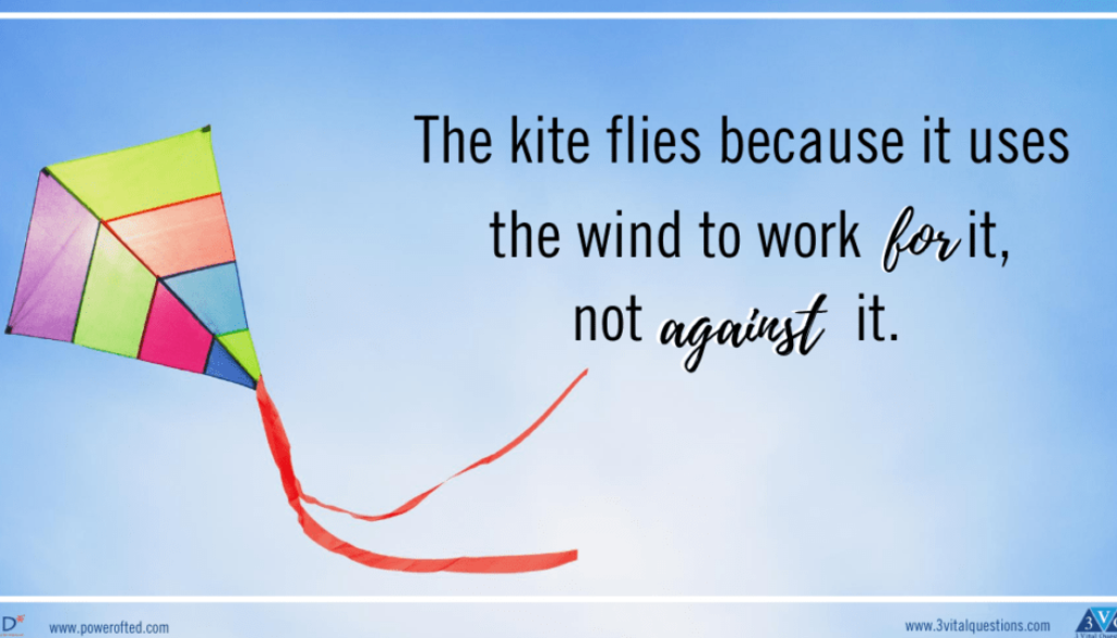kite with words: The kite flies because it uses the wind for it, not against it.