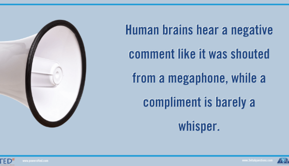 Human brains hear a negative comment like it was shouted from a megaphone, while a compliment is barely a whisper.