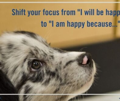 """Shift your focus from """"I will be happy when..."""" to """"I am happy because..."""""""