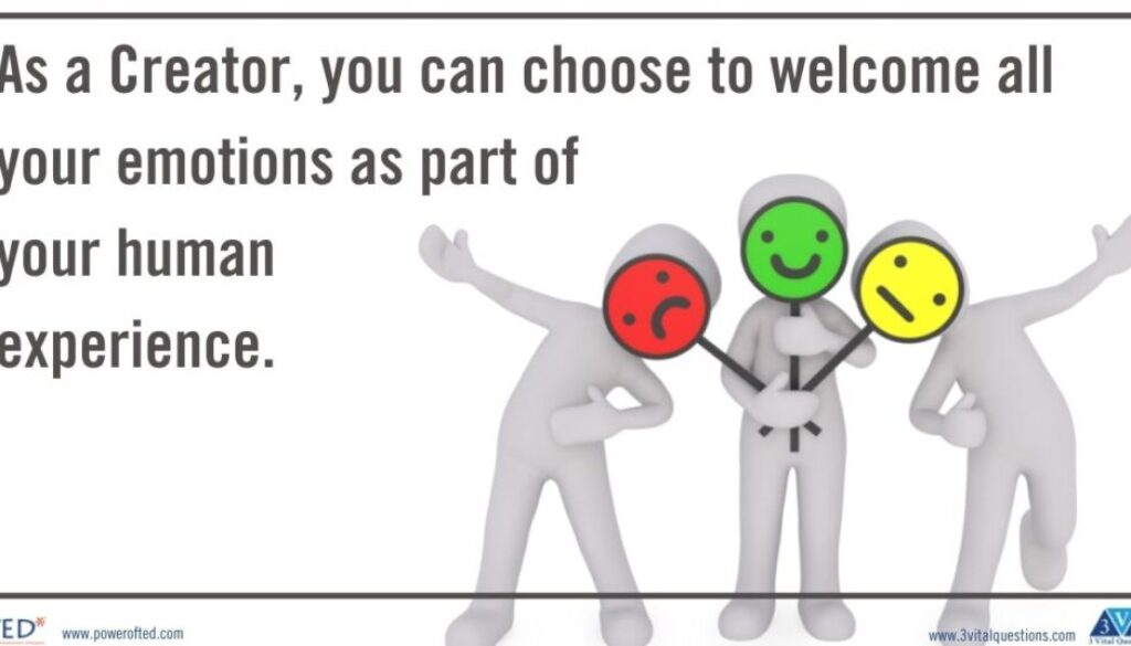 As a Creator, you can choose to welcome all your emotions as part of your human experience.