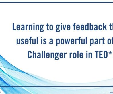 Learning to give feedback that is useful is a powerful part of the Challenger role in TED*.